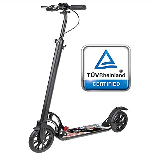 besrey Big Wheel Scooter Tret-Roller City-Scooter mit Big 205mm Wheel mit XXL Trittbrett, Handbremse
