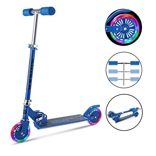 fiugsed Scooter Kinder Roller Tretroller Cityroller Kick Scooter Klappbar Mit Led Big Wheel Kugellager ABEC 7,Tragkraft 110 Lb (Grün)